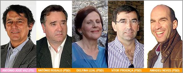 António José Vaz - António Robalo - Delfina Leal - Vítor Proença - Amadeu Neves - Câmara Municipal Sabugal - PS - PSD - Capeia Arraiana
