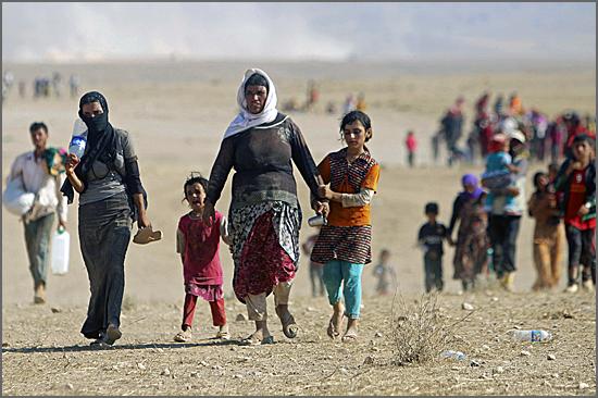 Os refugiados fogem à guerra