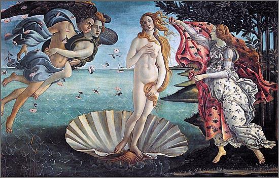 Nascimento de Vénus (Afrodite), de Botticelli