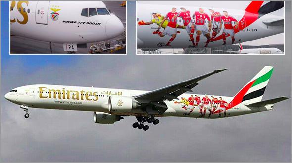 Avião da Emirates equipado «à Benfica» - Capeia Arraiana