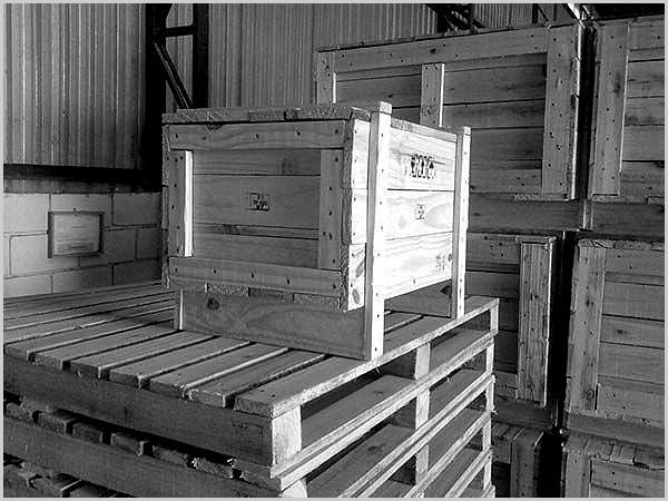 Caixote de madeira no armazém da CP