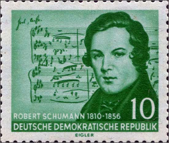Robert Schumann num selo da República Democrática Alemã