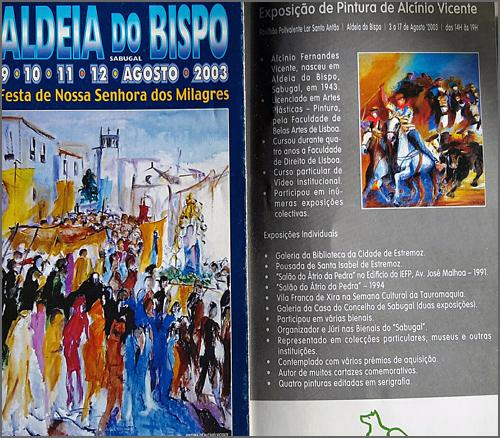 Catálogo de uma exposição de Alcínio em Aldeia do Bispo