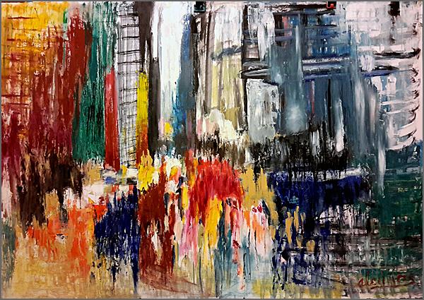 Espaço imenso onde se torna difícil determinar as linhas e ponto de fuga – Pintura de Alcínio