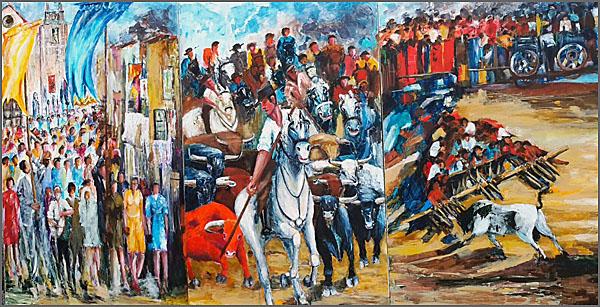 Tríptico com as tradições raianas - procissão, encerro e lide do forcão (pintura de Alcínio)