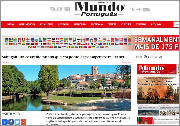Capa do Mundo Português com o Sabugal em destaque - Capeia Arraiana