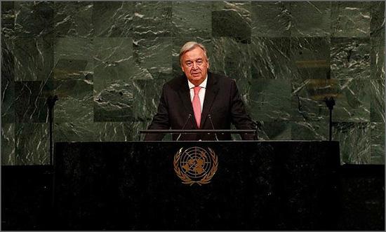 António Guterres discursou perante a Assembleia Geral da ONU no dia 19 de Setembro