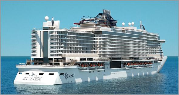 Navio de Cruzeiros MSC Seaside com capacidade para 3766 passageiros e  1413 tripulantes - José Carlos Lages - Capeia Arraiana