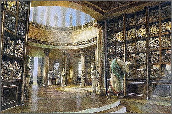 A biblioteca de Alexandria foi a mais famosa de todas
