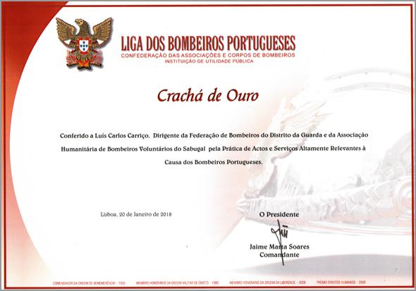 Diploma do Crachá de Ouro - VIII Gala da Federação dos Bombeiros da Guarda - Luís Carlos Carriço - Capeia Arraiana