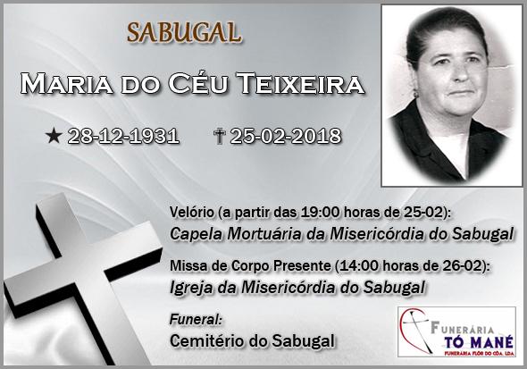 Obituário - Maria Céu Teixeira - Capeia Arraiana