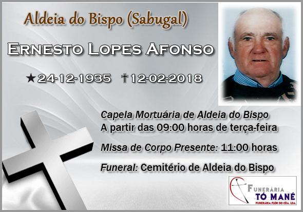 Ernesto Lopes Afonso - Obituário - Aldeia do Bispo - Funerária Tó Mané - Capeia Arraiana