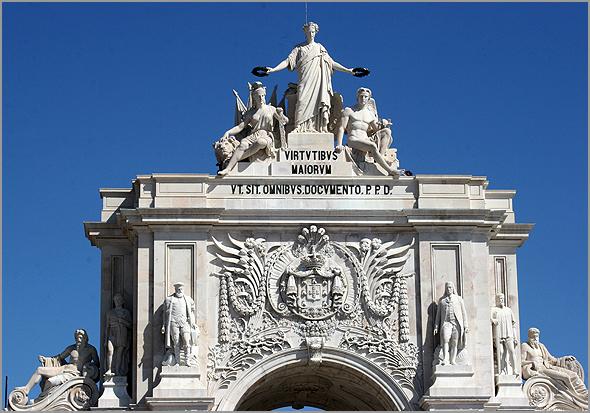 Parte superior do Arco da Rua Augusta, em Lisboa - Capeia Arraiana
