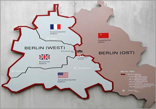Divisão da cidade de Berlim em parte Ocidental e parte Oriental - Capeia Arraiana
