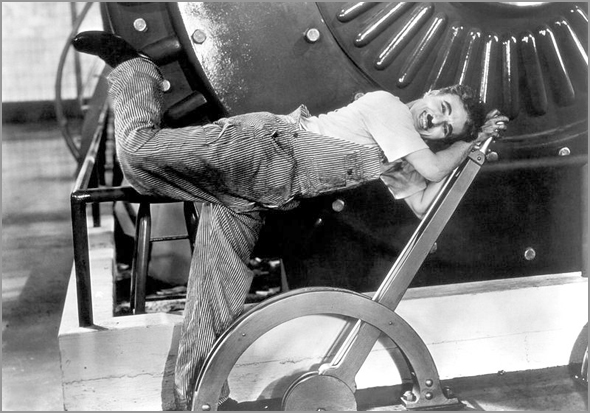 Em 1936 retratavam-se assim os «Tempos Modernos» - Charlie Chaplin - Capeia Arraiana
