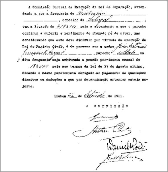 Documento da Comissão Central de Execução dada Lei da Separação da Igreja e do Estado - Franklim Costa Braga - Capeia Arraiana