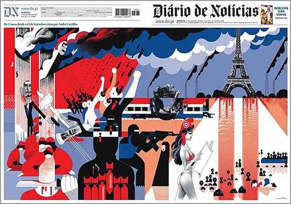 Capa premiada do Diário de Notícias quando passaram 15 anos sobre os atentados do 11 de Setembro - Capeia Arraiana