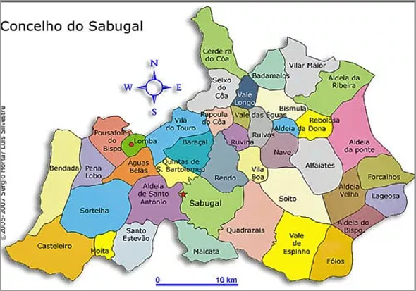 Mapa das Freguesias do Concelho do Sabugal