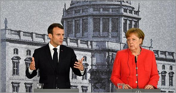Emmanuel Macron (Presidente da França) e Angela Merkel (Chanceler da Alemanha) - Capeia Arraiana