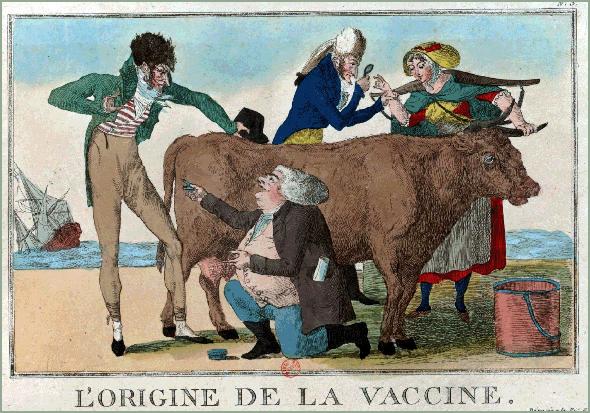 Gravura anónima francesa do começo do século XIX sobre a origem da vacina. Repare-se no médico que observa as mãos da camponesa que ordenhava as vacas - Adérito Tavares - Capeia Arraiana