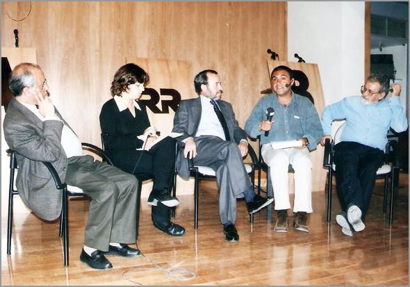 Adérito Tavares e Pinharanda Gomes no programa radiofónico «Serões da Rádio» de José Candeias na Rádio Renascença. No dia 19 de Maio de 1998 o tema foi a Capeia Arraiana - Capeia Arraiana