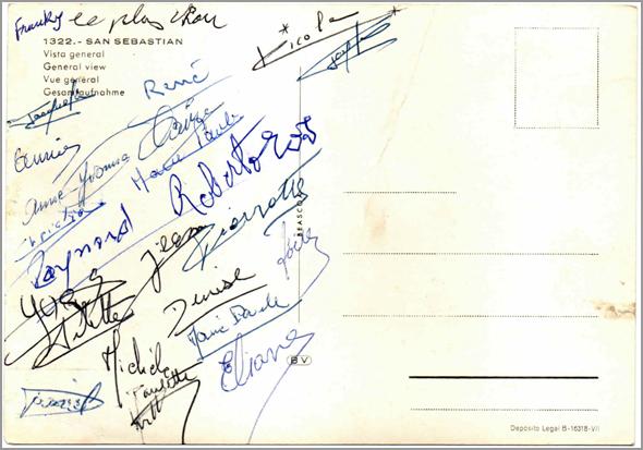 Assinaturas do grupo no postal de S. Sebastian - Capeia Arraiana