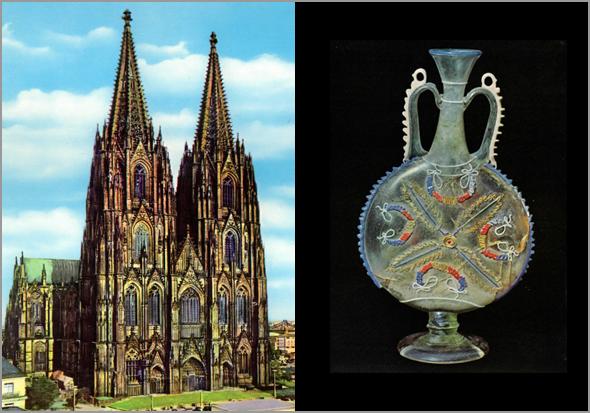 Catedral de Colónia e vaso de vidro peça do Museu Romisch-Germanisches de Koln - Capeia Arraiana