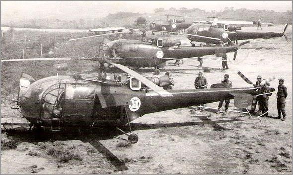 Helicópteros Alouette III da Força Aérea Portuguesa em Angola (foto: autor desconhecido) - capeiaarraiana.pt