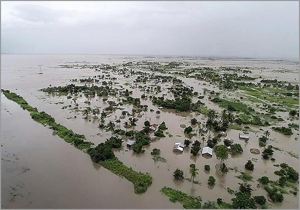 Cerca de 1.300 quilómetros quadrados inundados em Moçambique pelo ciclone Idai (Foto: D.R.)