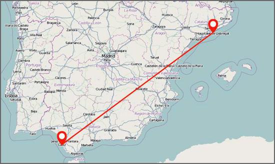 A distância entre Cádis e Barcelona
