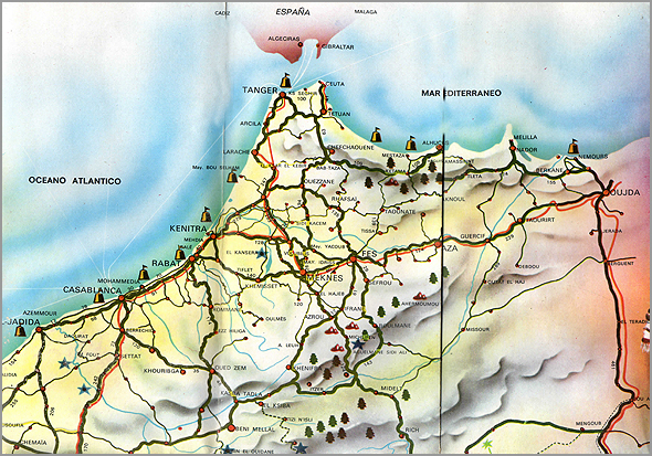 Mapa do norte de Marrocos - Capeia Arraiana