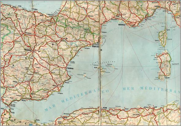 Mapa do sudeste de Espanha e sul de França - Capeia Arraiana