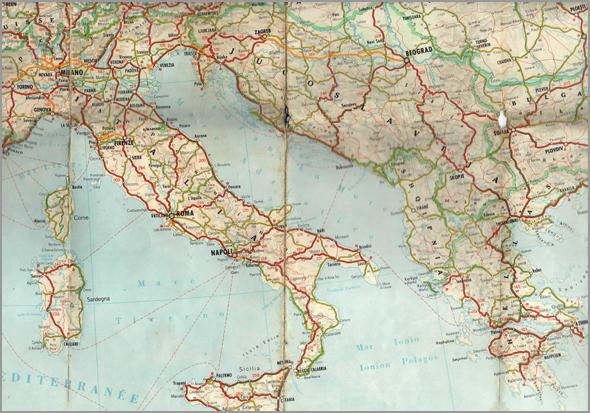 Mapa de Itália e Grécia - Capeia Arraiana