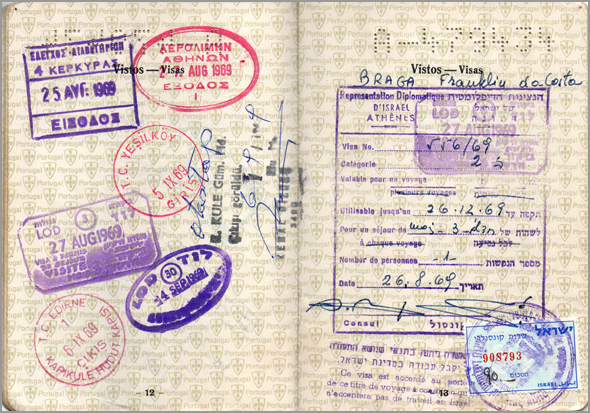 Carimbos da entrada e saída da Grécia e entrada em Israel. Visa de Israel - Capeia Arraiana