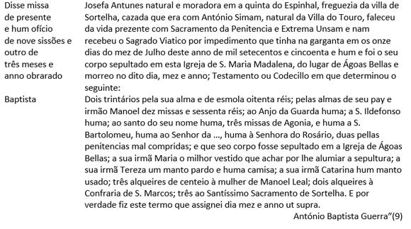 Testamento de 1751 - António Manuel Baptista