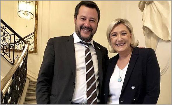 Matteo Salvini (Liga Norte de Itália) e Marine Le Pen (Frente Nacional de França)