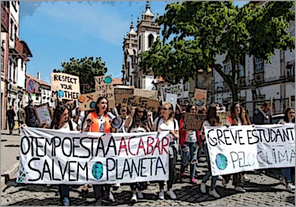 Jovens da Guarda também se manifestaram pelo clima: «Não há planeta B»...
