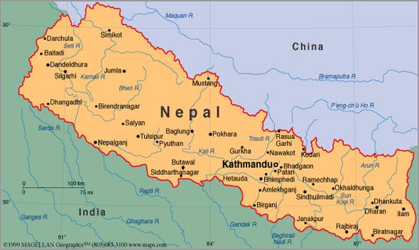 Mapa do Nepal - Capeia Arraiana