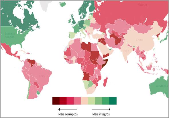 Índice de Percepção de Corrupção no Mundo em 2018