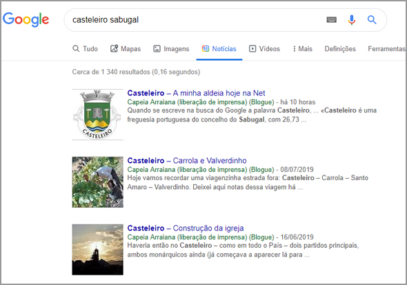 Casteleiro no Google News