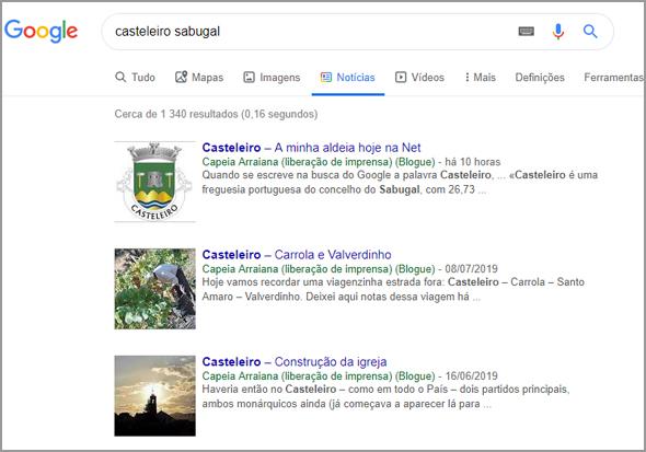 Casteleiro no Google News