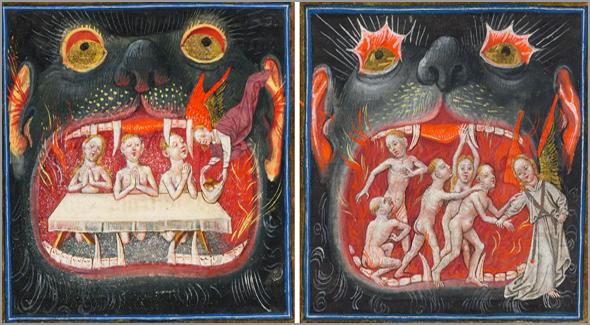 """Purgatório. Livro de Horas de Catarina de Clèves (c. 1440). As orações dos crentes são apresentadas por um anjo como """"alimento"""" para libertar as """"benditas almas do Purgatório"""" e fazê-las ascender ao Paraíso. Na segunda imagem, um anjo conduz uma dessas almas ao Céu"""
