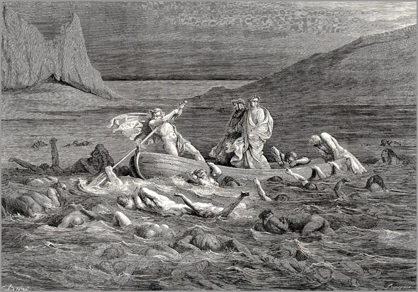 Ilustração de Gustave Doré para uma edição de 1861 da Divina Comédia. Dante e Virgílio atravessam o rio Estige, o Quinto Círculo, povoado pelos irados e os rancorosos.