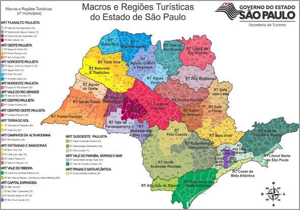 Mapa com a localização das regiões turísticas do estado de São Paulo