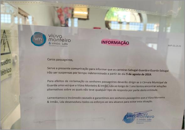 Comunicado da «Viúva Monteiro» a anunciar a suspensão da carreira Sabugal-Guarda-Sabugal