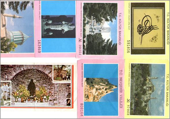Diversos bilhetes de entrada em museus e monumentos