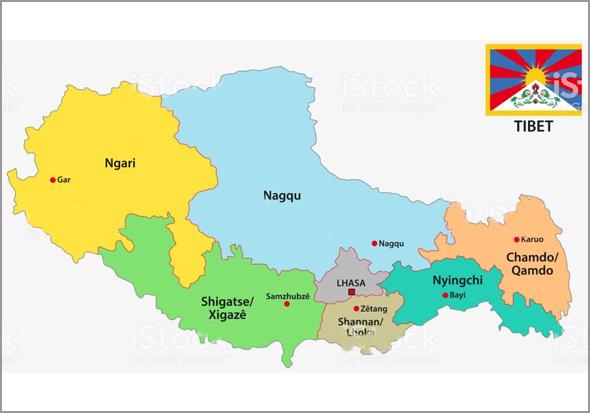 Mapa do Tibete (com Lhasa e Xigatsé)