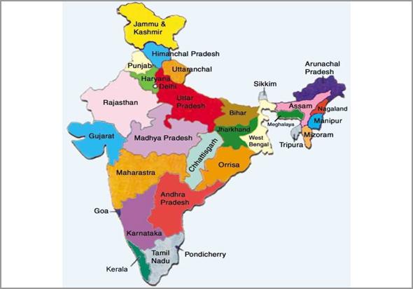 Mapa com os Estados da Índia