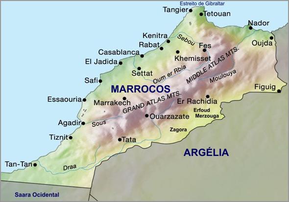Mapa de Marrocos onde se pode localizar a cidade de Agadir