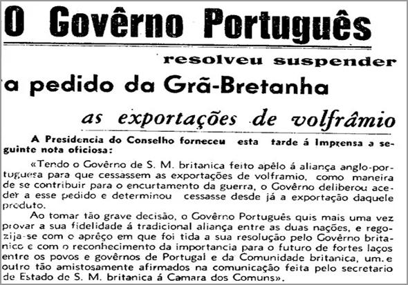 Artigo num jornal português sobre o volfrâmio